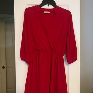 Red V Neck Dress